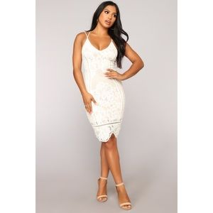Fashion Nova Off White Lace Dress NWT